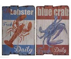 Wandbild Holzbild Holzschild Hummer Maritime Shabby Daily fresh Fisch Angeln 2er