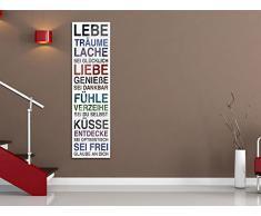 Wandbilder Acrylglasbild Glasbild für Wohnzimmer mit Sprüchen Lebe Träume Lache (50x180cm)