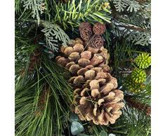 artplants.de Künstlicher Tannenkranz, Zapfen und Efeu, Ø 60cm - Türkranz - Weihnachtsdeko