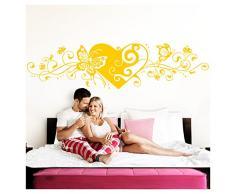 Grandora Wandtattoo Blumenranke Herz selbstklebend I gelb 190 x 48 cm I Schlafzimmer Liebe Love Schmetterlinge Wandtatoo Wandaufkleber Wandsticker W642
