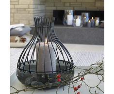 Leonardo Giardino Schale mit Aufsatz schwarz, 2-teiliges Set, handgefertigtes Glas und Metall, 010279