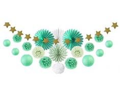 SUNBEAUTY Mint Party Dekoration Kit Lampion Pompoms Sterngirlande (Grün)
