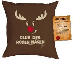 Kissen mit Füllung - Weihnachtsmotiv: Club der roten Nasen - Set mit Urkunde - By Gali - Farbe: braun - Geschenk - Weihnachten
