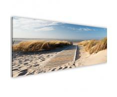XXL/135x45 CM ! Bilder - TOP Design Leinwandbilder ! Fertig Aufgespannt - Panoramabild - Wandbilder - Wand Bild - Kunstdrucke - Landschaft Strand Meer Sand Himmel Gras Urlaub Wolke Bretter blau 030212-83 B&D XXL