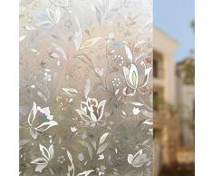 Rabbitgoo® 3D Statische Fensterfolie Dekorfolie Sichtschutzfolie Fensterschutzfolie Selbsthaftend Anti-UV 90*200cm