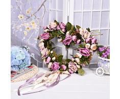 Cheerfulus Künstliche Rose Herzförmige Kranz Türkranz Wandschmuck Hochzeit Dekokranz Seiden Kunstblumen Blütenkranz Hause Fensterbank Hängen oder Legen Ornament