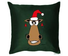 Goodman Design Lustiges Weihnachtsmotiv Kissen - Advent Deko : Gesicht/Pferd mit Weihnachtsmütze Farbe: dunkelgrün