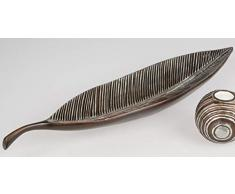 formano Dekoschale, Dekoteller Shell Blatt L. 65cm antikbraun + Silber