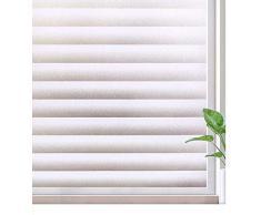 Rabbitgoo Fensterfolie Sichtschutzfolie Dekorfolie Selbstklebend Statische Folie ohne Kleber Jalousie 90 x 200 cm