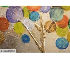 KunstLoft® Acryl Gemälde Buntes Herbstlaub 150x50cm   original handgemalte Leinwand Bilder XXL   Bunte abstrakte Bäume im Wald auf Beige Gold Bunt   Wandbild Acrylbild einteilig mit Rahmen