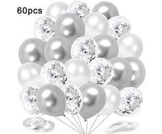 """O-Kinee Luftballons Metallic Silber, 60 Stück 12"""" Luftballons Silber Weiß Konfetti Helium Balloons für Geburtstag Hochzeit Babyparty Valentinstag (Silber)"""