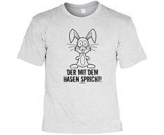 Geschenk zum Osterhasen cooles T-Shirt zur Osterzeit Der mit dem Hasen spricht Geschenk Ostern Geschenkidee Osterhase Ostern Gr: M Farbe: grau