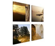 Bilderdepot24 Wandbild - Set Landschaften - je 20x20cm - 4teilig - Leinwandbilder - Landschaften - Natur - Sonnenuntergang - Idylle