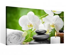 Leinwandbild 1 Tlg XXL Wellness Orchidee Feng Shui Yoga Spa Steine Kerze Leinwand Bild Leinwandbilder Holz 9O746, XL 1Tlg BxH:60cmx40cm