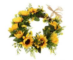 B Blesiya Künstlicher Sonnenblumen Türkranz Wandkranz Dekokranz - 32 cm