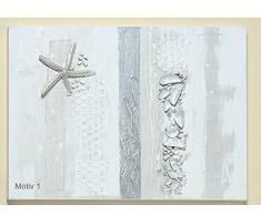 Wunderschönes Leinwandbild ~ maritim - Motiv 1 ~ mit Struktur Bild Muscheln + Seestern