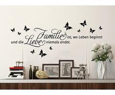 Grandora® W5007 Wandtattoo Spruch Familie ist, wo Leben beginnt und... Wandaufkleber Wandsticker hellbraun (BxH) 90 x 30 cm