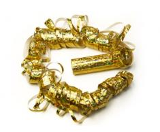 SiDeSo® Luftschlangen 2 Stück gold holo metallic Party Feier Deko Silvester