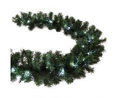 Künstliche Tannengirlande 5m grün mit LED-Lichterkette kaltweiß Weihnachten außen