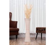 Leewadee Große Bodenvase für Dekozweige hohe Standvase Design Holzvase 75 cm, Mangoholz, White wash