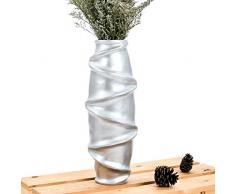 Leewadee Kleine Bodenvase für Dekozweige hohe Standvase Design Holzvase, 14x 41 cm, Mangoholz, Silber
