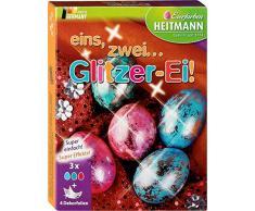Heitmann Eierfarben eins, Zwei…Glitzer-Ei! - glitzerndes Osternest - Blau, Grün und Rot - Glitzerfolie - Kaltfarben