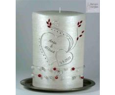 Hochzeitskerze modern Oval 22/15cm, Silber -1382- mit Namen und Datum - Perlmutt-Struktur und Swarovski-Steine- Kerze zur Hochzeit - Brautkerze - Herz