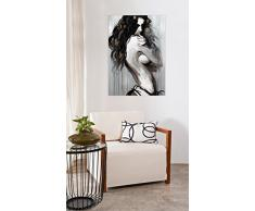 KunstLoft® Acryl Gemälde So Seductive 70x100cm   original handgemalte Leinwand Bilder XXL   Frau Erotik Akt Schwarz Grau Deko   Wandbild Acrylbild moderne Kunst einteilig mit Rahmen