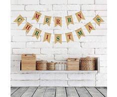 G2PLUS Merry Christmas Leinen Wimpel Girlande, 15.7 Fuß Vintage Hessischen Wimpelkette mit 14 STK Farbenfroh Wimpeln für Weihnachtsfeier