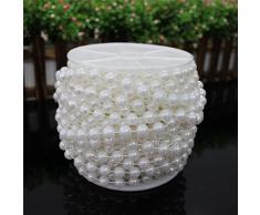 10m Perlenkette Perlengirlande 8mm Hochzeit Feste Feiern Weihnachten Deko Weiß