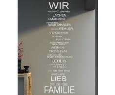 XXL Spruch - WIR Familie Haus Lachen family Wandtattoo Aufkleber 140x40cm B339 (schwarz)