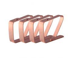 HUAFA Tischdeckenklammer (4er Set),Hohe Qualität Verkupferung Tischdeckenklammern,Tischtuchklammer Tischtuch Clips Max Dicke 3cm.(Roségold)