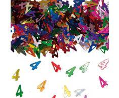 NET TOYS Farbenfrohes Tisch-Konfetti mit Zahl 4 - 14gr. - Glänzende Party-Tischdeko Streu-Dekoration Geburtstagskonfetti - Genau richtig für Geburtstage & Jubiläumsfeier
