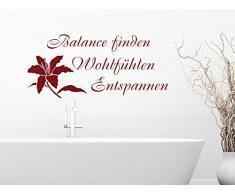 Graz Design 650020_57_080 Wandtattoo Spruch Balance mit der Blume fr Badezimmer Wanddeko Fliesen 125x57cm Braun