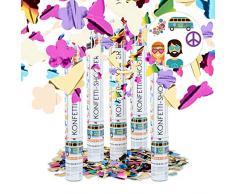 Relaxdays 5er Set Party Popper bunt mit Schmetterlingen, Blumen, Konfetti Kanone für Mottopartys, 40 cm Party Shooter, Mehrfarbig