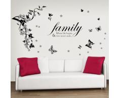 Walplus Schmetterlinge Rebe Familie Zitat Weiß Wandsticker Papier Kunst Dekoration Wohnzimmer