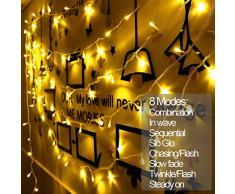 MOVEONSTEP 200 LED Lichterkette Mit Stecker DC 31V Low Voltage Fairy Sternenlichter mit 8 Leuchtmodi für Weihnachtsbaum, Party, Garten, Hochzeit Veranstaltungen-Warmes Weiß