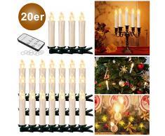 YAOBLUESEA 20stk Weinachten LED Kerzen Lichterkette Kabellos Weihnachtskerzen Christbaumschmuck Weihnachtsbaumbeleuchtung mit Fernbedienung Kabellos für Weihnachtsbaum Weihnachtsdeko Hochzeit