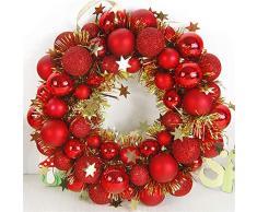 GLITZFAS Weihnachtskranz Kunststoff Girlande Weihnachtskugeln Kranz Christbaumkugeln Weihnachtsdeko Türkranz Deko-Kranz (Rot,30cm)