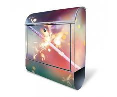 banjado - Design Briefkasten mit Zeitungsfach aus Stahl 38x42x11cm Wandbriefkasten mit Motiv Wunderkerze