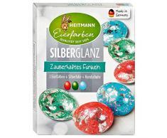 Heitmann Eierfarben Silberglanz - 3 Kaltfarben, Glitzerfolie - glitzerndes Osternest - Ostern - Ostereier bemalen, Ostereierfarbe