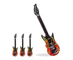 Relaxdays 4x Aufblasbare Gitarre Flames im Set, Air Guitar zum Aufblasen, Karaoke-Accessoire, Luftgitarre, PVC, 95cm, schwarz/rot