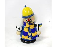 Räuchermann als Fussballer mit blau / gelbem Outfit, ca. 12 cm