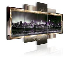 murando - Bilder 225x112 cm - Leinwandbilder - Fertig Aufgespannt - Vlies Leinwand - 5 Teilig - Wandbilder XXL - Kunstdrucke - Wandbild - New York Abstrakt 020111-28
