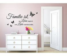 Grandora Wandtattoo Familie ist wo Leben beginnt I schwarz (BxH) 80 x 40 cm I Flur Diele Wohnzimmer selbstklebend Sticker Aufkleber Wandaufkleber Wandsticker W5457