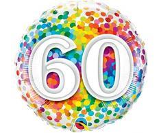 Qualatex Folienballon 49551 60 Rainbow Konfetti, 45,7 cm farbenreiche
