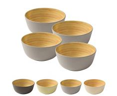 BIOZOYG 4 Stück Premium Bambusschale grau rund 450 ml I Bambus Geschirr Schüssel Müslischale Obstschale Holzschale Salatschüssel Dekoschale Suppenschale Servierschüssel