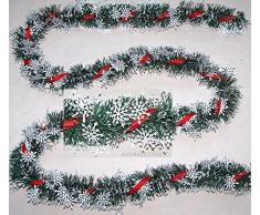 Weihnachten Weihnachtsgirlande Eissterne feine Fransen grün-weiß 2Meter D70-85mm