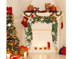 FunPa LED Girlande Weihnachten, 9 Fuß Weihnachtsgirlande Künstlicher Kiefer Kranz mit LED Licht Merry Christmas Ball und Blumen Weihnachts Hauptdekor für Fenster, Baum, Kamin, Treppe