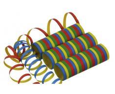 Riethmüller 6204 - Luftschlangen 10 Rollen, 18 Streifen, 7 mm x 4 m, schwer entflammbar